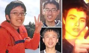 Elliot Rodger (right) and his first three victims: Weihan Wang (left), Cheng Yuan Hong (top center) and George Chen (center bottom) from The Daily Express